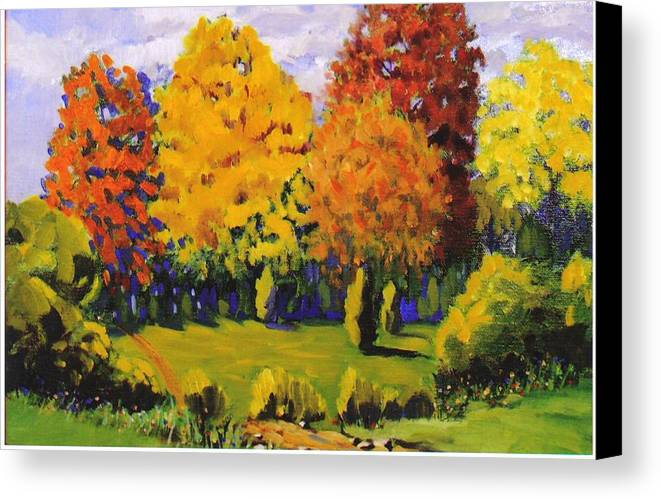 Landscape Canvas Print featuring the painting October Woods by Jonathan Carter