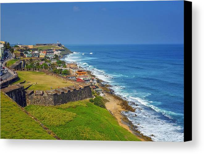 Ocean Canvas Print featuring the photograph Old San Juan Coastline by Stephen Anderson