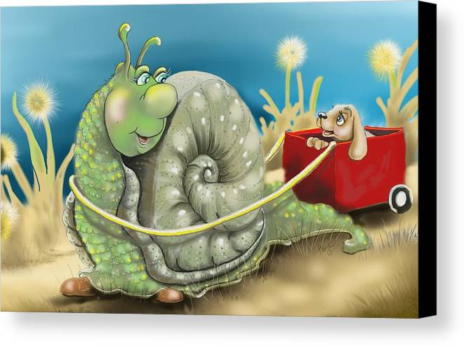 Snail And Puppy. Snail And Puppy Poster Canvas Print featuring the digital art On The Road To Better Places by Hank Nunes