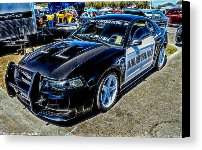 Police Canvas Print featuring the photograph One Bad Ass Squad Car by Tommy Anderson