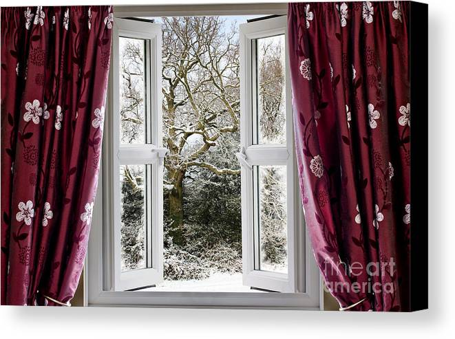 Window Canvas Print featuring the photograph Open Window With Winter Scene by Simon Bratt Photography LRPS