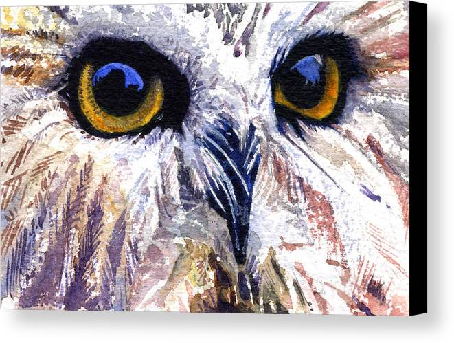 Eye Canvas Print featuring the painting Owl by John D Benson