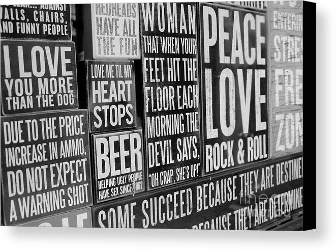 High Dynamic Range Canvas Print featuring the photograph Peace, Love And Rock N Roll by Dorothy Hilde