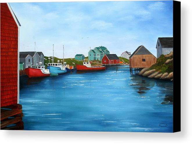 Cove Canvas Print featuring the painting Peggys Cove Nova Scotia by Sharon Steinhaus