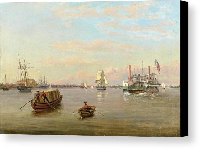 Thomas Birch Canvas Print featuring the painting Philadelphia Harbor by Thomas Birch