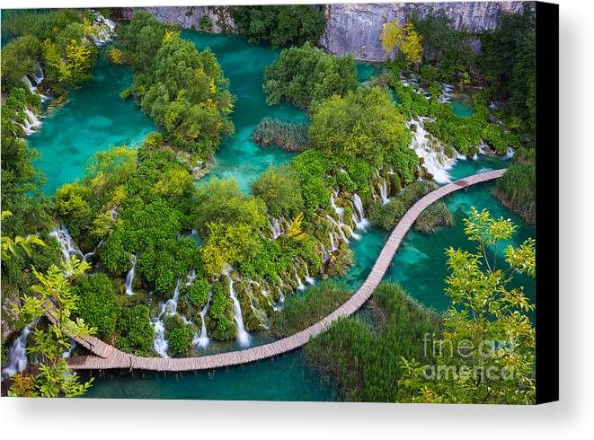 Adriatic Canvas Print featuring the photograph Plitvice Boardwalk by Inge Johnsson