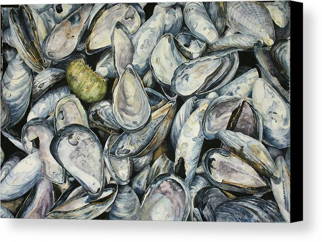 Mussel Shells Canvas Print featuring the painting Point Pleasant Buffet Garden by Helen Shideler