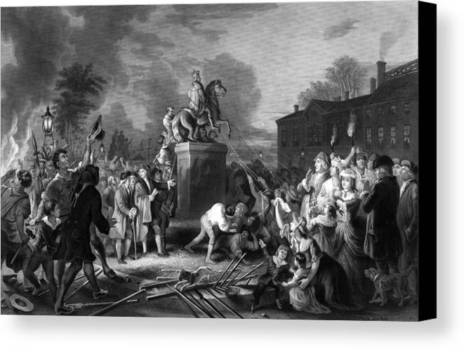 Revolution Canvas Print featuring the painting Pulling Down The Statue Of George IIi by War Is Hell Store