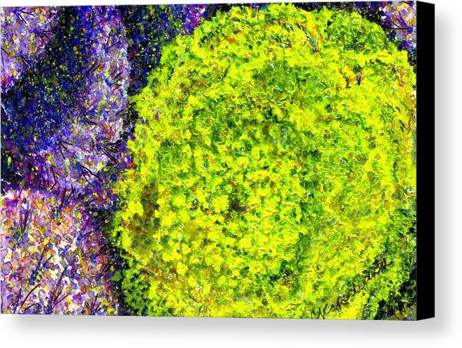Watercolor Canvas Print featuring the painting Purple Prickly Pear Cactus Blossom by Cynthia Ann Swan
