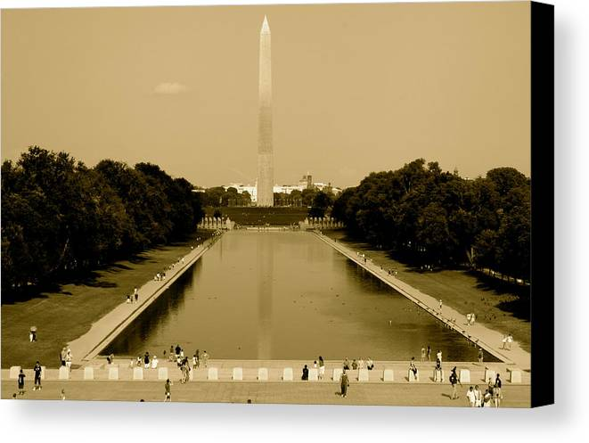 Reflecting Pool Canvas Print featuring the photograph Reflecting Pool Of The Washington Monument by Aimee Galicia Torres
