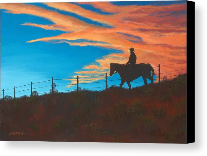 Cowboy Canvas Print featuring the painting Riding Fence by Jerry McElroy