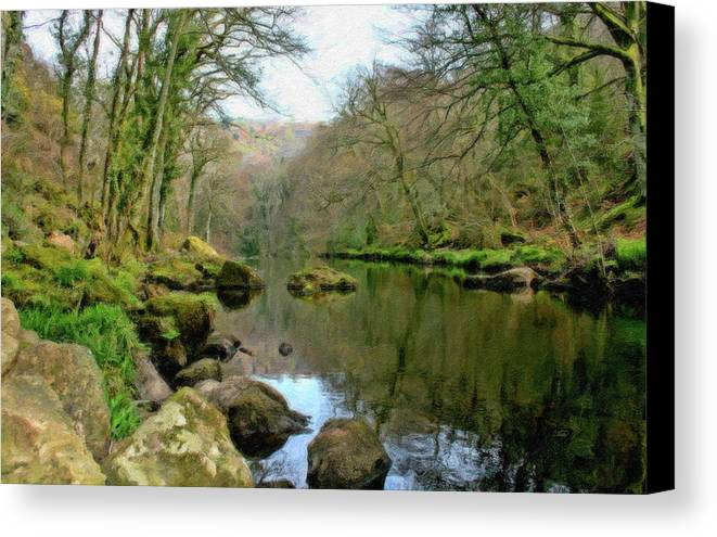 Landscape Canvas Print featuring the painting River Teign - P4a16010 by Dean Wittle