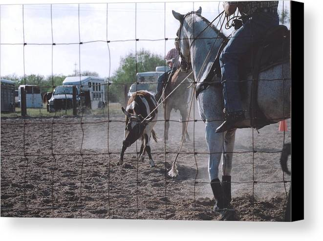 Horse Canvas Print featuring the photograph Roping Event 5 by Wendell Baggett