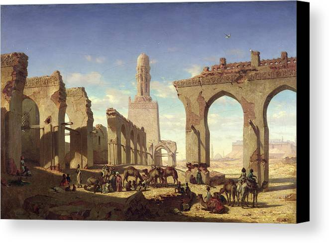 Ruins Canvas Print featuring the painting Ruins Of The Mosque Of The Caliph El Haken In Cairo by Prosper Georges Antoine Marilhat