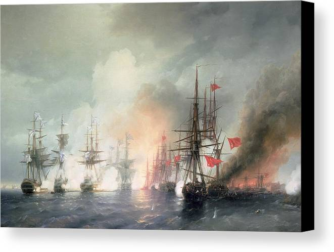 Russian-turkish Canvas Print featuring the painting Russian Turkish Sea Battle Of Sinop by Ivan Konstantinovich Aivazovsky