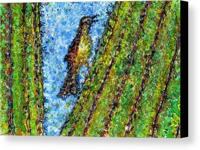 Watercolor Canvas Print featuring the painting Saguaro Cactus With Woodpecker by Cynthia Ann Swan
