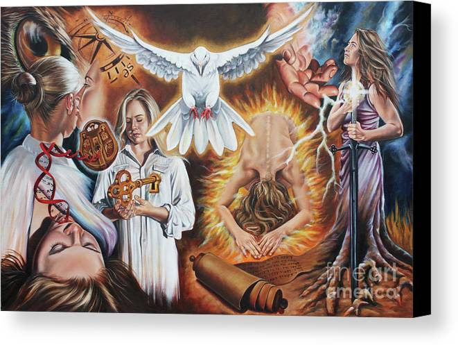 Dove Canvas Print featuring the painting Seven-fold Spirit Of The Lord by Ilse Kleyn