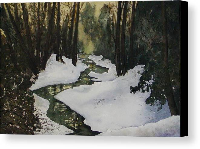 Watercolour Canvas Print featuring the painting Silent Snow by Sharon Steinhaus