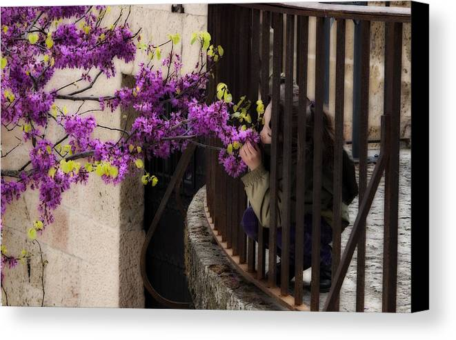 Girl Canvas Print featuring the photograph Smelling The Flowers by Obi Martinez