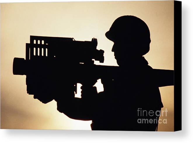 Horizontal Canvas Print featuring the photograph Soldier Holds A Stinger Anti-aircraft by Stocktrek Images