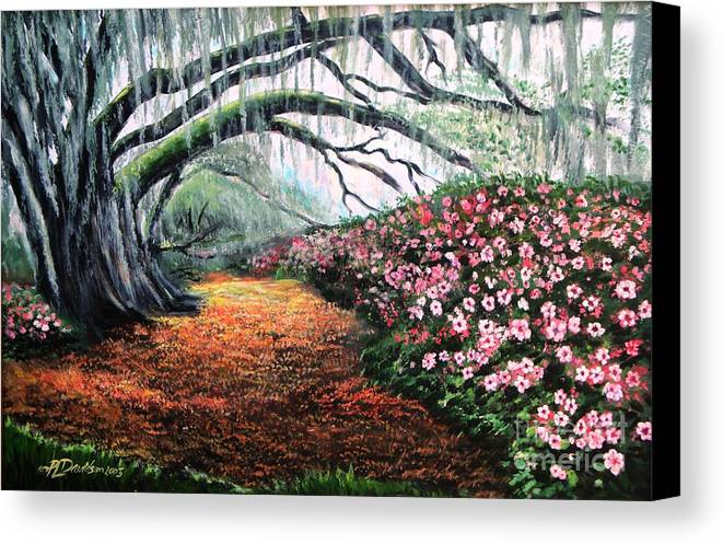 Azalea Canvas Print featuring the painting Southern Charm Oak And Azalea by Patricia L Davidson
