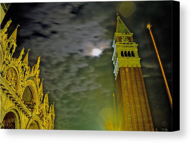 Venice Canvas Print featuring the photograph St. Marks In Venice With Moon And Venus by Michael Henderson