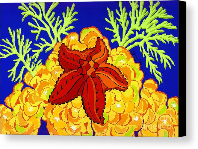 Nature Canvas Print featuring the drawing Starfish by Lucyna A M Green