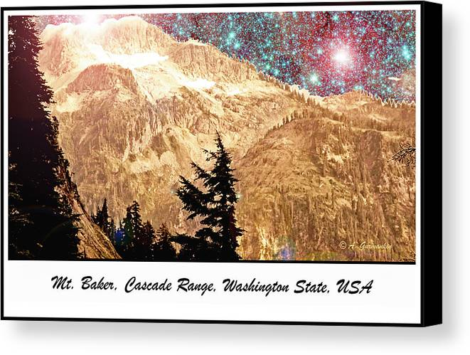 Starry Canvas Print featuring the drawing Starry Night Over Mount Baker by A Gurmankin NASA