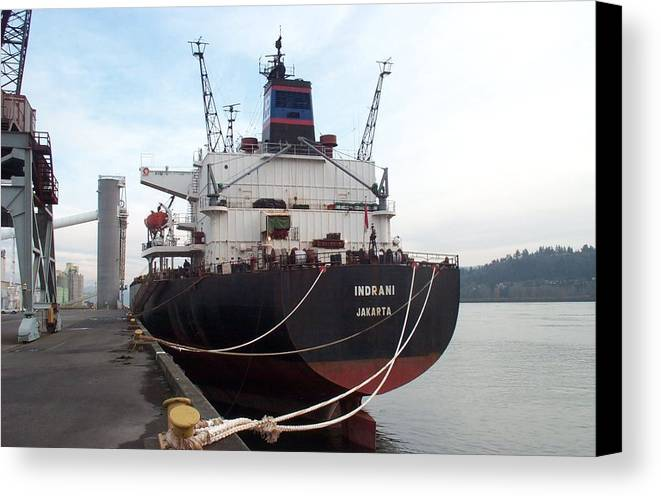 Vessel Canvas Print featuring the photograph Stern Of The Vessel Indrani At Dock by Alan Espasandin