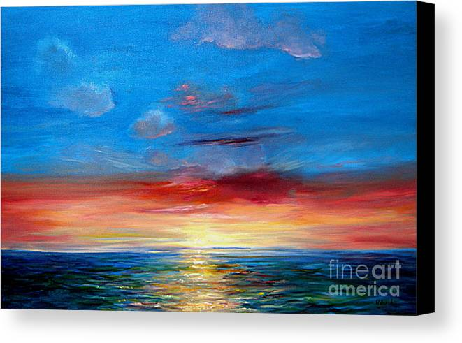 Seasca[e.ainting Canvas Print featuring the painting Sunset In Florida Key West. by Jeannette Ulrich