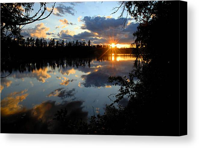 Boundary Waters Canoe Area Wilderness Canvas Print featuring the photograph Sunset On Polly Lake by Larry Ricker
