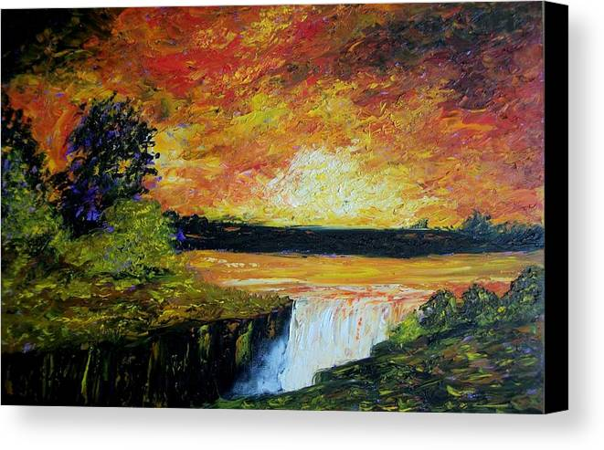 Sunset Canvas Print featuring the painting Sunset Over The Lake by Tami Booher