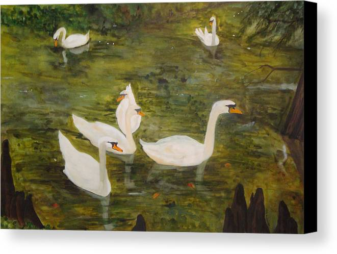 Swan Canvas Print featuring the painting Swan Lake by Jean Blackmer