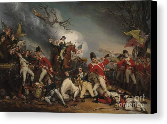 Trumbull Canvas Print featuring the painting The Death Of General Mercer At The Battle Of Princeton, January 3, 1777 by John Trumbull