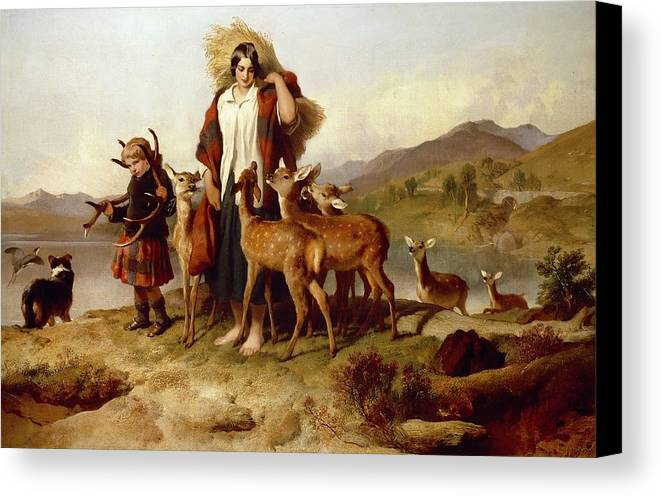 The Canvas Print featuring the painting The Forester's Family by Sir Edwin Landseer