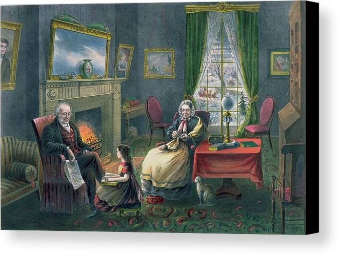 The Four Seasons Of Life: Old Age Canvas Print featuring the painting The Four Seasons Of Life Old Age by Currier and Ives