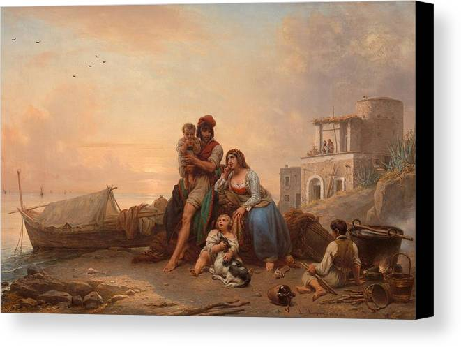 Louis Ricquier (antwerp 1792 - Paris 1884) Canvas Print featuring the painting The Happy Family by MotionAge Designs