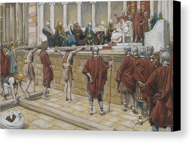 Tissot Canvas Print featuring the painting The Judgement On The Gabbatha by Tissot