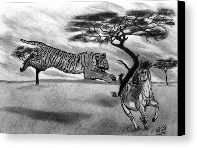The Lunge Canvas Print featuring the drawing The Lunge by Peter Piatt
