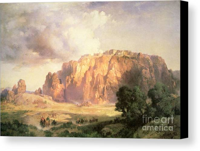 The Pueblo Of Acoma Canvas Print featuring the painting The Pueblo Of Acoma In New Mexico by Thomas Moran