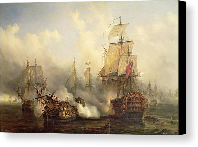 The Canvas Print featuring the painting The Redoutable At Trafalgar by Auguste Etienne Francois Mayer