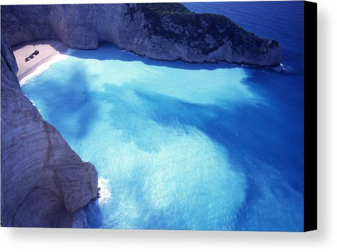 Bay; Beach; Day; Europe; Greece; Ionian Canvas Print featuring the photograph The Shipwreck by Steve Outram