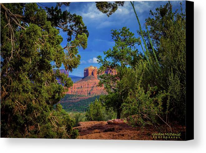 Sedona Canvas Print featuring the photograph Through The Pines by Gordon McDaniel