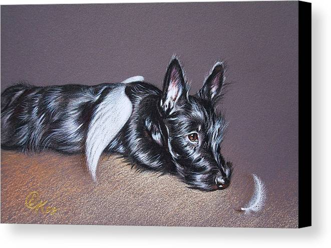 Scottish Terrier Canvas Print featuring the drawing Tired Angel by Elena Kolotusha