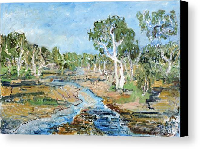 Australia Trees Eucalyptus Alice Springs River Dry White Bark Blue Sky Canvas Print featuring the painting Todd River by Joan De Bot