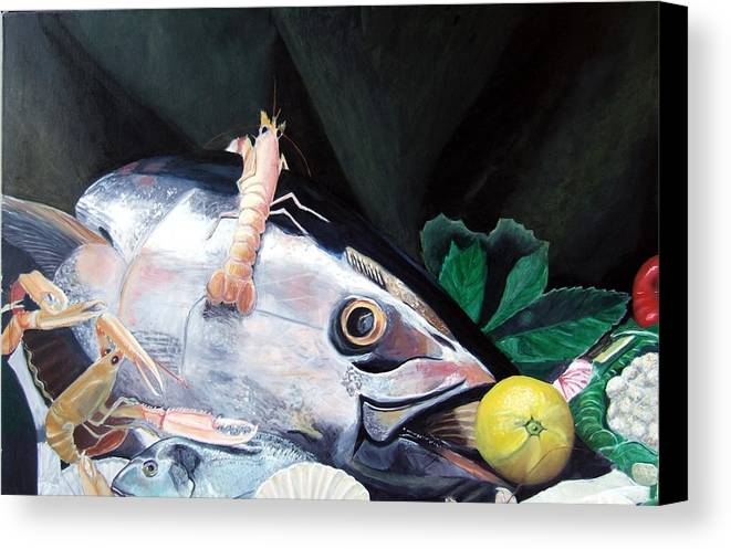 Still Life Canvas Print featuring the painting Tuna Head In Venice by Michael Henderson