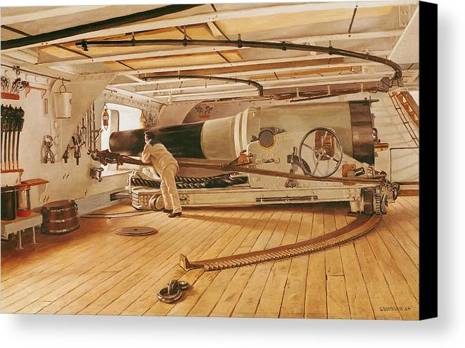 Twenty-seven Canvas Print featuring the painting Twenty-seven Pound Cannon On A Battleship by Gustave Bourgain