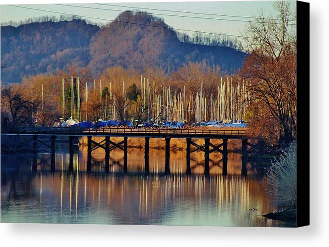 Hudson Valley Landscapes Canvas Print featuring the photograph View Of A Bridge by Thomas McGuire