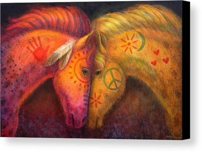 Horse Canvas Print featuring the painting War Horse And Peace Horse by Sue Halstenberg