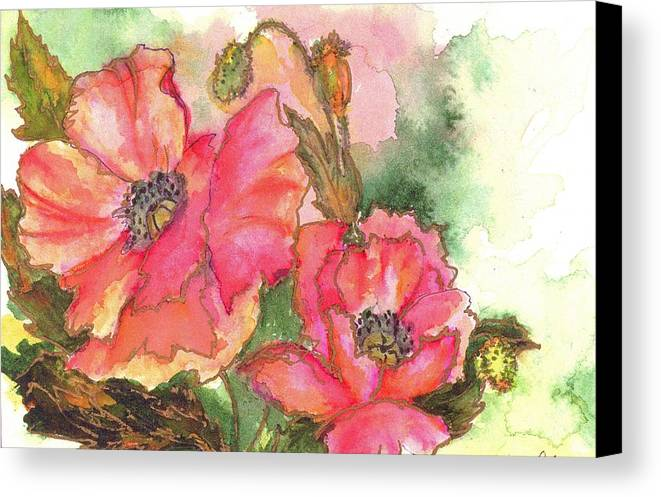 Watercolor Canvas Print featuring the painting Watercolor Poppies by Lila Van Pelt